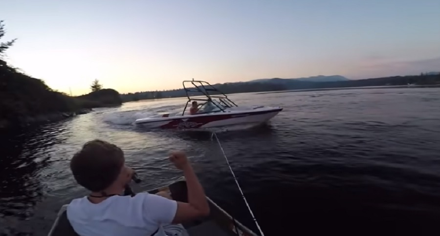 BOATERS GONE WILD TRY TO SINK FISHERMEN